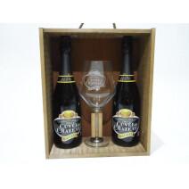 Cuvée du Chateau 2x75cl + glass in wooden box
