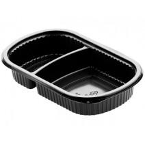 Duni Meal Box 2 compartments 500ml/250ml Black PP 240x150x40mm 50pcs