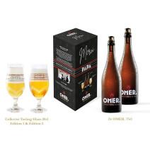 Omer Blond Bier geschenkverpakking Merci Papa 2x75cl+2xglas20cl